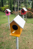 Colorful bird houses in the garden. Colorful bird houses on the poles in the green garden Stock Photo