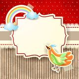 Bird and rainbow on cardboard background Royalty Free Stock Images