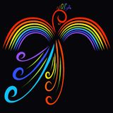 Colorful bird with wings in the form of a rainbow, black background. royalty free illustration