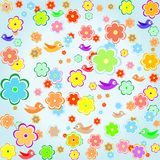Colorful Bird With Spring Flower Background Stock Photo