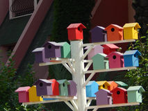 Colorful birdhouses on a Turkish street in summer Royalty Free Stock Image