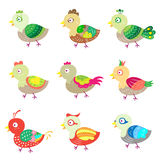 Colorful birds. There are 9 colorful birds Stock Images