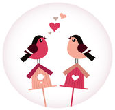 Cute Birds in love sitting on Birdhouses Stock Photos