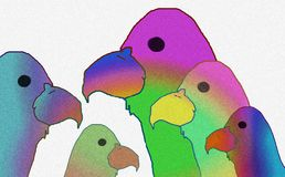 Family of colorful birds stock illustration