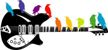 Colorful birds on a guitar Stock Images