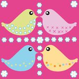Colorful birds. Illustration of multicolor birds on pink background Royalty Free Stock Image