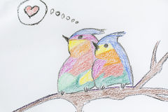 Colorful  birds in love .Child drawn Stock Image