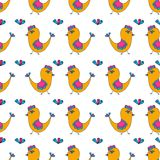 Colorful birds seamless pattern on a background. Royalty Free Stock Image
