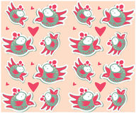 Colorful birds seamless pattern different cute birds background Royalty Free Stock Photo