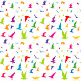 Colorful birds seamless pattern. Colorful birds silhouettes seamless pattern Royalty Free Stock Image