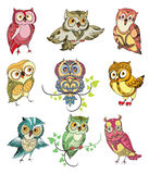 Colorful Birds Set. Of cute owls with different emotions on white background isolated vector illustration Royalty Free Stock Photos
