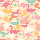 Colorful birds silhouettes seamless pattern Stock Photography
