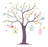Colorful Birds with tree and birdcage Stock Images