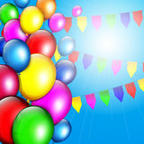 Colorful Birthday background with balloons Royalty Free Stock Photo