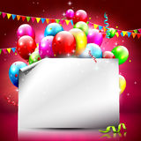 Colorful birthday background with empty paper Royalty Free Stock Photo
