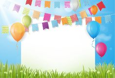 Colorful birthday balloon with bunting flags and confetti Stock Photography