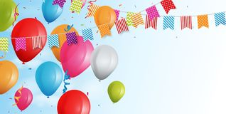 Colorful birthday balloon with bunting flags and confetti Stock Photo