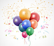 Colorful birthday with balloon and fireworks. Illustration of Colorful birthday with balloon and fireworks stock illustration
