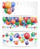Colorful Birthday Balloon on white Banner Royalty Free Stock Photo