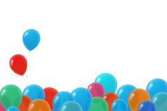 Colorful Birthday Balloons. With text area on isolated white background Stock Images