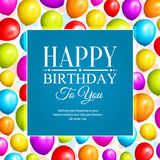 Colorful birthday balloons on background and stylish lettering. Vector. Royalty Free Stock Photo