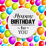 Colorful birthday balloons on background and stylish lettering. Vector. Colorful birthday balloons on background and stylish lettering Stock Photos
