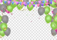 Colorful birthday balloons and confetti Festive  Background Vect. Or. Ready for Text and Design Royalty Free Stock Photo