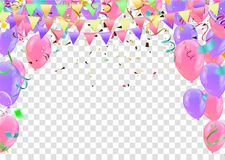 Colorful birthday balloons and confetti Festive  Background Vect. Or. Ready for Text and Design Stock Image