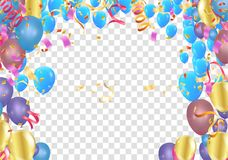 Colorful birthday balloons and confetti Festive  Background Vect. Or. Ready for Text and Design Royalty Free Stock Images
