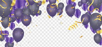 Colorful birthday balloons and confetti Festive  Background Vect. Or. Ready for Text and Design Stock Photography