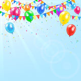 Colorful birthday balloons. Pennants, tinsel and confetti on sky background, illustration Royalty Free Stock Image