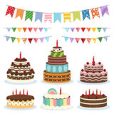 Colorful birthday banners and cakes Stock Images