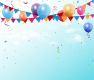 Colorful birthday bunting flags and balloons with space for your text Stock Photos