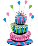 Colorful birthday cake Royalty Free Stock Image