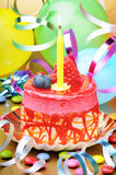 Colorful birthday cake with candle Stock Image
