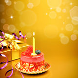 Colorful birthday cake with candle Royalty Free Stock Image