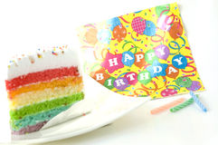 Colorful birthday cake. With candles Royalty Free Stock Photo