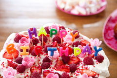 Colorful birthday cake with letters Stock Photography