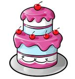 Colorful birthday cake with outline Royalty Free Stock Photos