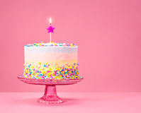 Colorful Birthday Cake with Sprinkles Royalty Free Stock Photography