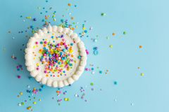 Colorful birthday cake top view royalty free stock photos