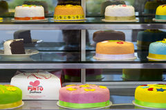 Colorful birthday cakes in Bogota, Colombia Stock Photography