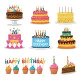 Set of Birthday Cakes. Birthday Party Elements vector illustration