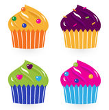 Colorful birthday cakes set isolated on white. Cute cupakes. Vector illustration. Cakes colors Stock Image