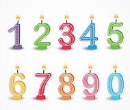 Colorful Birthday candle number. Illustration of Colorful Birthday candle number Royalty Free Stock Images