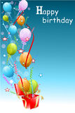 Colorful birthday card. Illustration of colorful birthday card with bolloons Stock Image