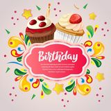 Colorful birthday card with berry cupcakes. Additional file in vector eps 10 Stock Photo