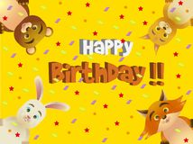 A colorful birthday card for children with four forest animals. Four woodland animals peeping out from the corners wishing a happy birthday vector illustration