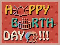 Colorful Birthday Card. Colroful Birthday Card, joyful svector card, bright and reach greeting card with birthday cake, birthday card with outlook symbols, big Royalty Free Stock Image