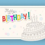 Colorful birthday card with outline doodle cake three candles. Greeting birthday card with colorful handwritten inscription Happy Birthday. Outline birthday cake Royalty Free Stock Photos